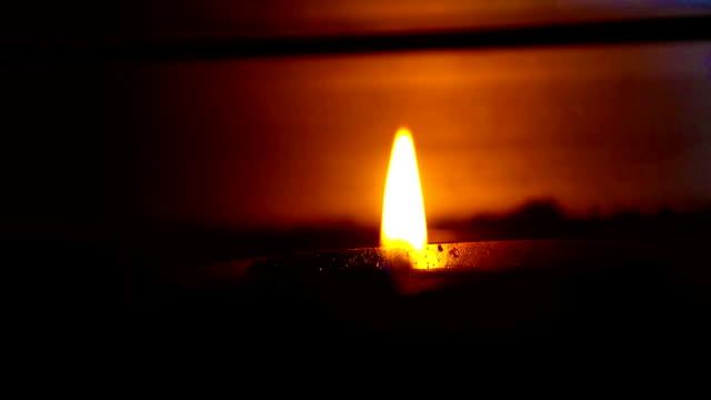 Oil lamp burning in hindu temple, India video