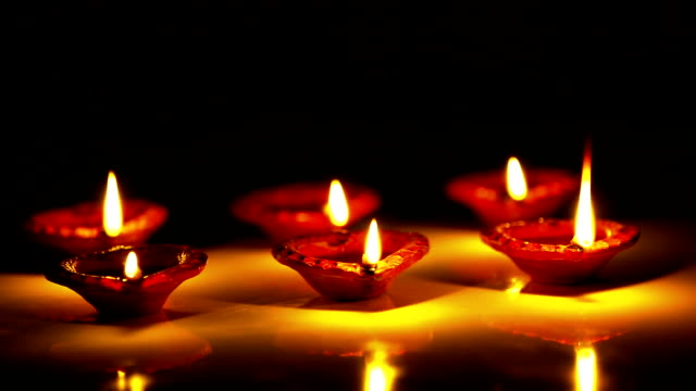 Oil Lamps in a row video