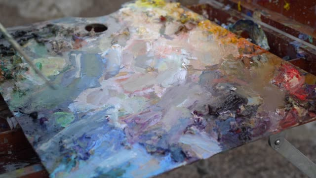 Oil Paint Palette. Mixing paint