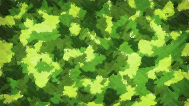 Oil painting green camouflage background Moving oil paint brush strokes forms abstract camouflage background in grassy green color range camouflage clothing stock videos & royalty-free footage