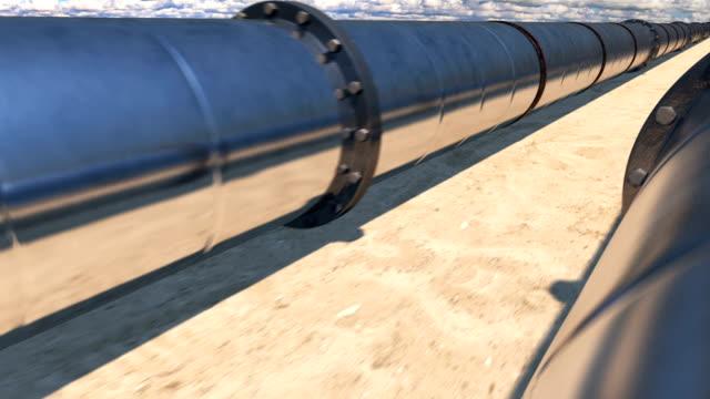 2 oil pipes in desert, loop - libia video stock e b–roll