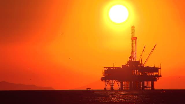 Oil platform at sea video