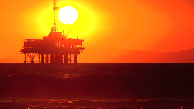 Oil platform at sea video