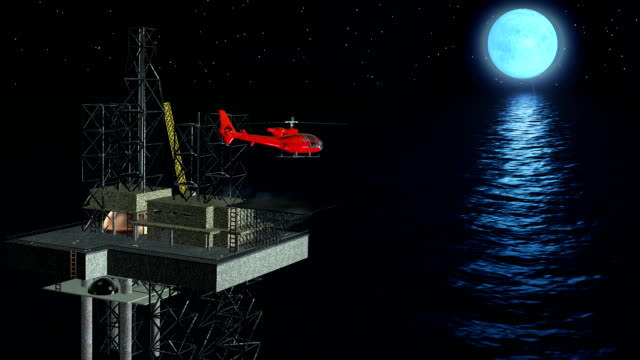 Oil platform helicopter in action video