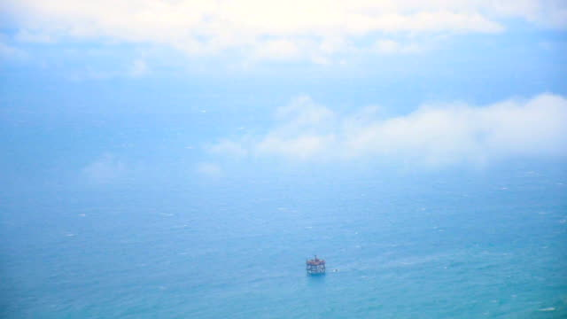 AERIAL  Oil platform in stormy sea video