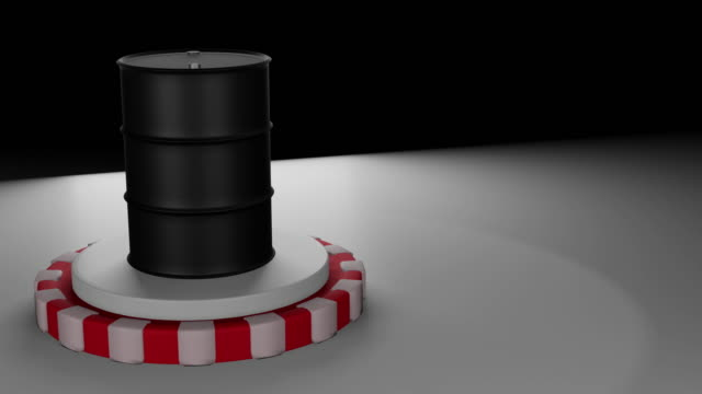 Oil price drop and one barrel of crude petroleum falling down