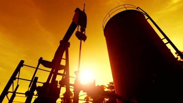 Oil pump in the sunset video