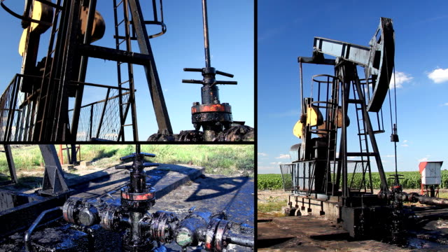 Oil Pump Jack in a field video