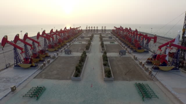 Oil pump on see in shandong,china,shoot by drone video
