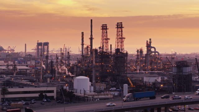 Oil Refinery at Sunset - Aerial video