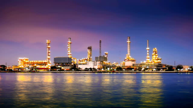 HD: Oil Refinery Plant and tanker Working at dusk video