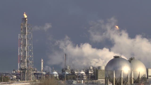Oil refinery with gas flares video