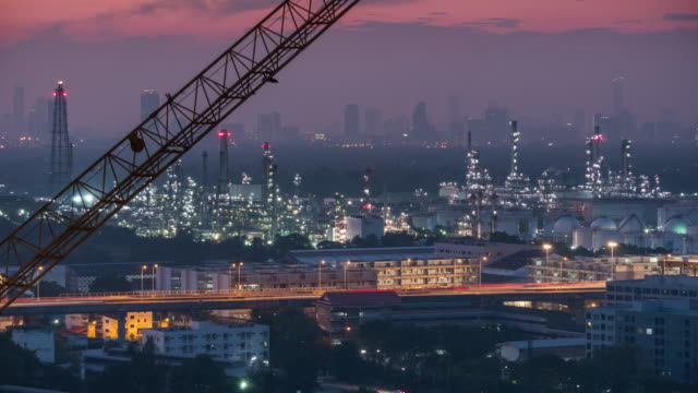 Oil Refinery,Time lapse video