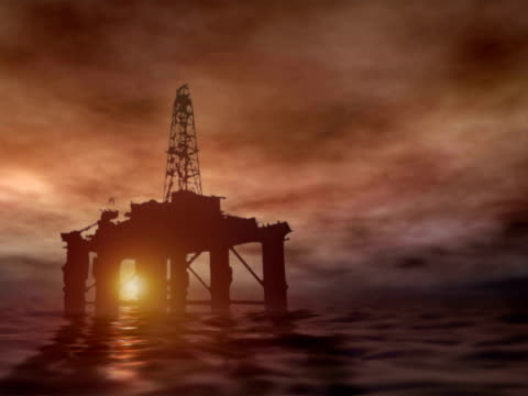 Oil Rig at Sunset video