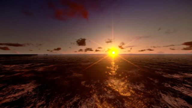 Oil Rig in ocean, flight across, timelapse sunrise video