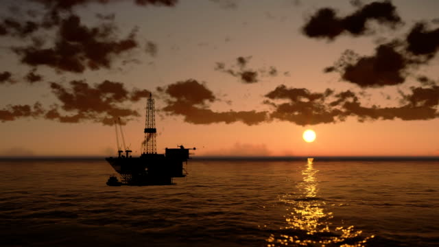 Oil Rig in Ocean, time lapse clouds at sunset video