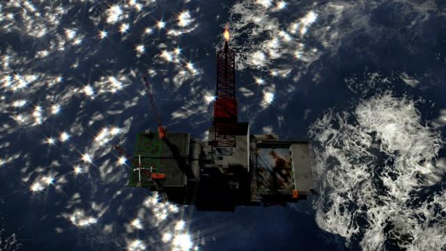 Oil Rig in stormy ocean, cam fly video