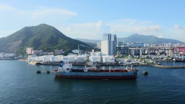 Oil tank in Hong Kong, China Oil tank in Hong Kong, China refueling stock videos & royalty-free footage