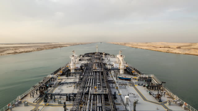 Oil tanker is proceeding through Suez Canal. video