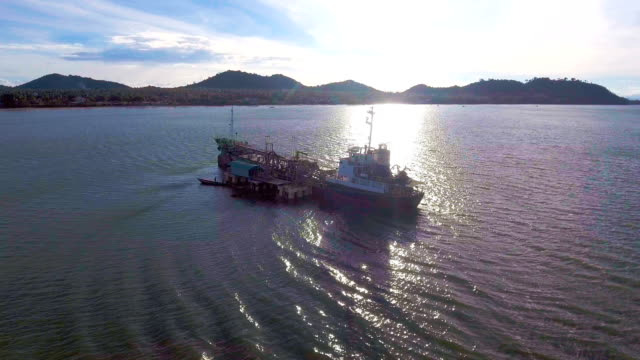 Oil Tanker Ship Aground on Shallow Water, Aerial Video video