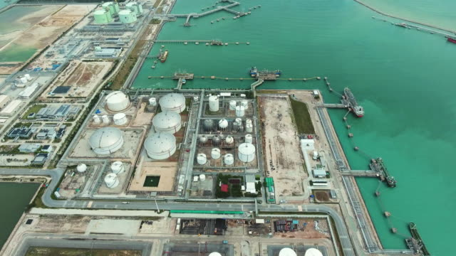 Oil Tanks in Refinery, Chemical Factory, Aerial View Oil Tanks in Refinery, Chemical Factory, Aerial View gas pipe stock videos & royalty-free footage