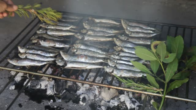 Oiling fresh Mediterranean fishes on BBQ video