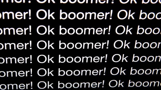 Ok Boomer Ok boomer written on screen. baby boomers stock videos & royalty-free footage