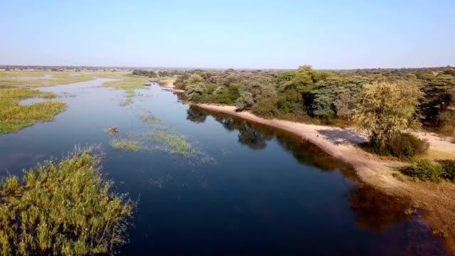 Okavango delta river on Namibia and Angola border video