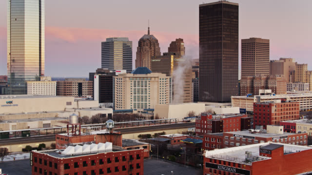Oklahoma City Train Station and Bricktown at Sunrise - Drone Shot video
