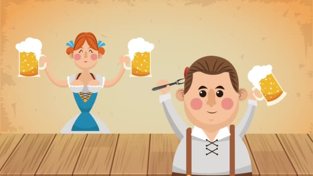 oktober fest celebration hd animation - icona posate video stock e b–roll