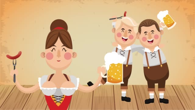 oktober fest celebration hd animation - oktoberfest stock videos and b-roll footage