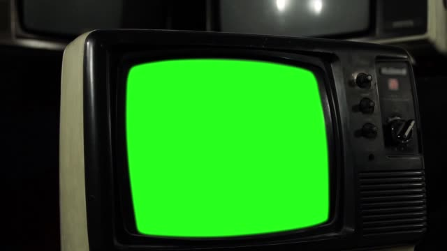 "Old 80s TV with Green Screen. Zoom Shot. You can replace green screen with the footage or picture you want. You can do it with ""Keying"" effect in After Effects  (check out tutorials on YouTube). Full HD. hd format stock videos & royalty-free footage"