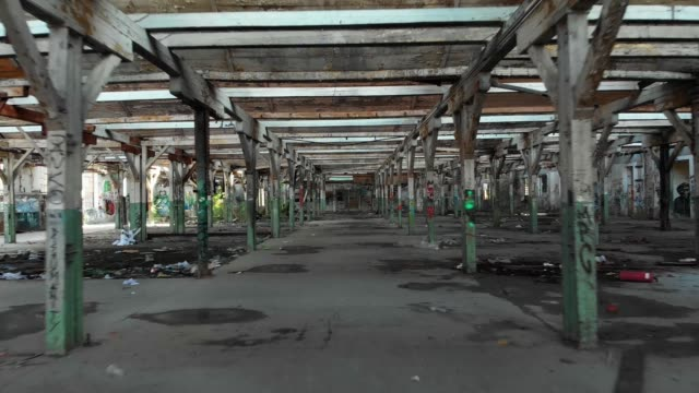 Old abandoned, deserted factory hall