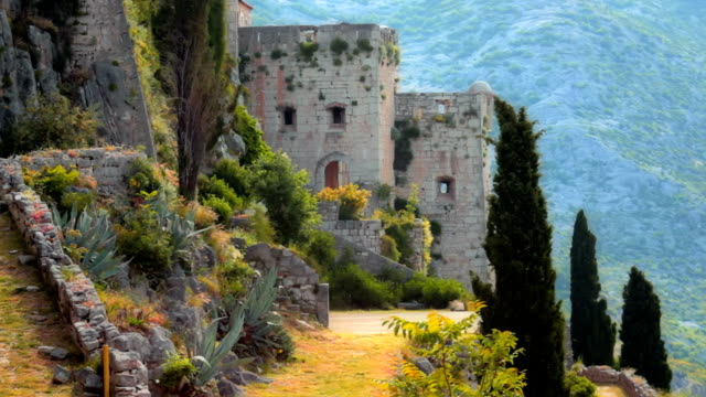 Old abandoned fortress Klis, Croatia Old abandoned fortress Klis. Summer windy shot. Location medieval fortress Klis near Split in Croatia. Early morning. fort stock videos & royalty-free footage