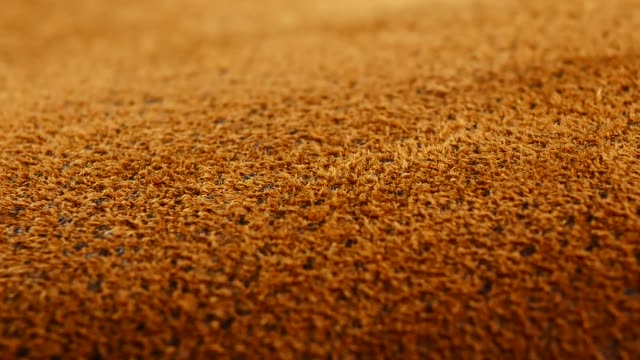 Old aged suede leather background. Coarse texture, gradient yellow brown beige, vivid colors. video
