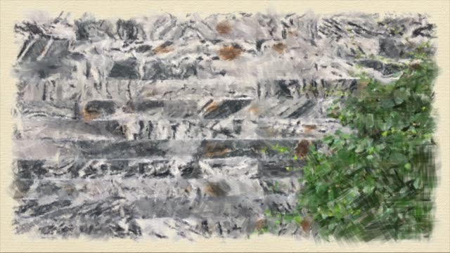 Old and stained dirty looking red bricked wall background with  with green creeper tree on the wall. , Oil painting style