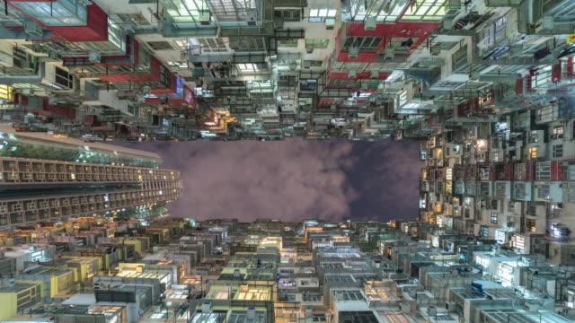 altbau wohnung in hong kong mit sky, kippen sie zeitraffer video. - bevölkerungsexplosion stock-videos und b-roll-filmmaterial