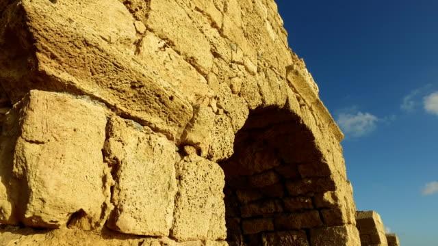 Old Aqueduct in Israel on Ocean Israel, Caesarea - Sea, Old Aqueduct aqueduct stock videos & royalty-free footage