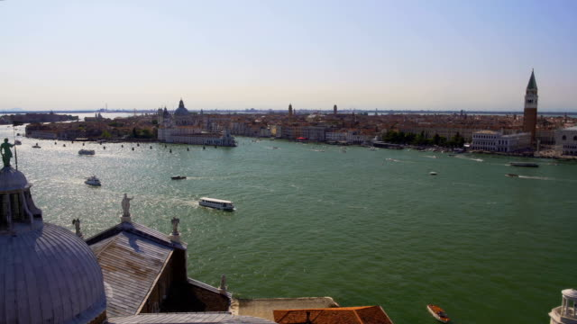 Old architecture in Venice, aerial view of buildings and Grand Canal, tourism video