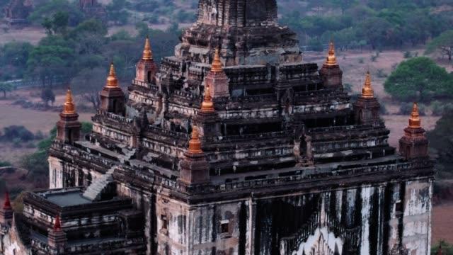 Old Bagan Temple Parallax Aerial Aerial shot of white temple in Myanmar myanmar stock videos & royalty-free footage