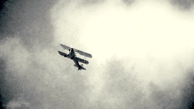Old biplane in flight