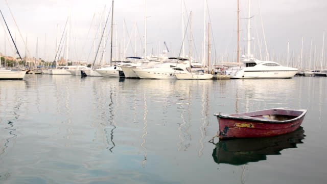 old boat in harbor video