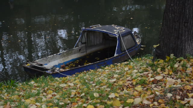 Old boat on the canal video