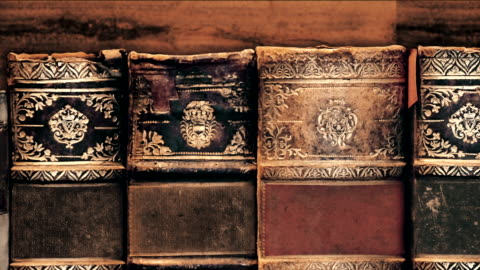Old Books at Library Right to left camera pan 4K Resolution ancient stock videos & royalty-free footage