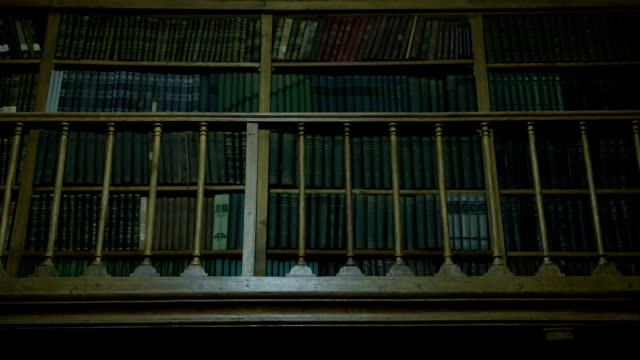 Old books on library shelf video