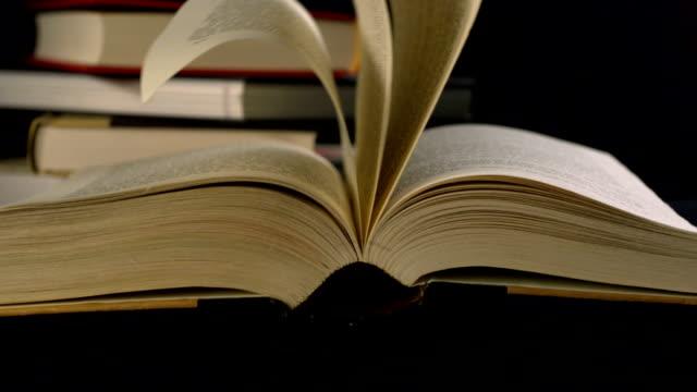 old book's page turning, slow motion - stavning bildbanksvideor och videomaterial från bakom kulisserna
