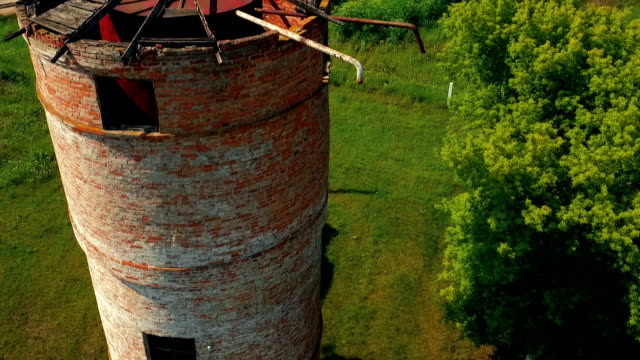 Old brick tower. Aerial view