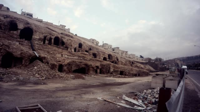 Old Buildings under Empty Urfa Cavern Houses Time of Reconstruction City Centre Wintry Day video