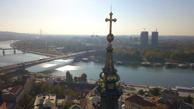 old cathedral and belgrade waterfront from aerial point of view - белград стоковые видео и кадры b-roll