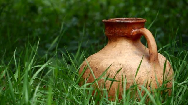 vidéos et rushes de vieille crute d'argile en céramique dans l'herbe - picto urne